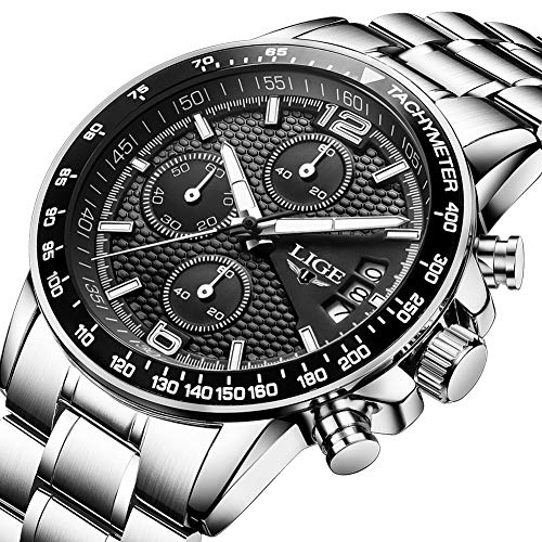 LIGE orologio da uomo acciaio inossidabile impermeabile sportivo cronografo tempo libero moda affari...