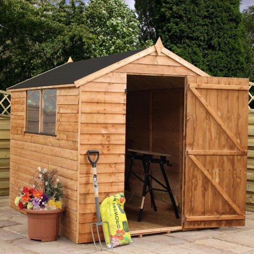 Mercia-8-x-6-Overlap-Apex-Wooden-Garden-Shed-with-Single-Door-and-Felt