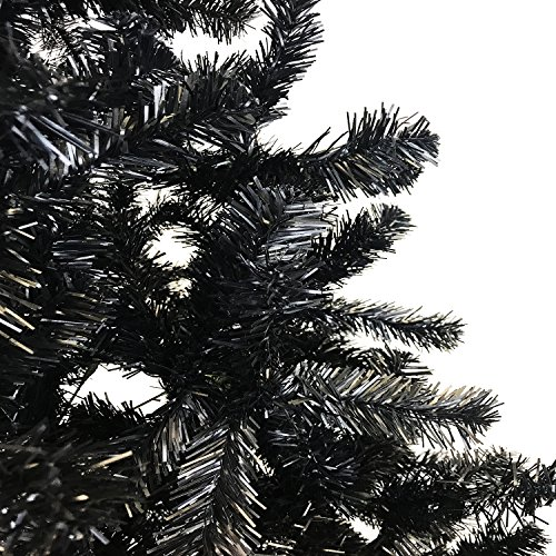 Mojawo - Albero di Natale Artificiale, 180 cm, con Supporto, Colore: Nero