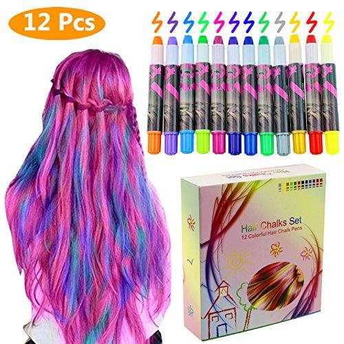 Philonext Colore temporaneo dei capelli di scintillio metallico non tossico delle penne del gesso dei capelli cerati professionali (12 Colors)