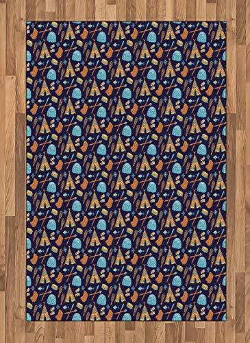 ABAKUHAUS Polo Nord Moquette Tessuta Piatta, Eskimo Elementi simbolici, per Soggiorno Camera da Letto Sala da Pranzo, 120 x 180 cm, Mehrfarbig