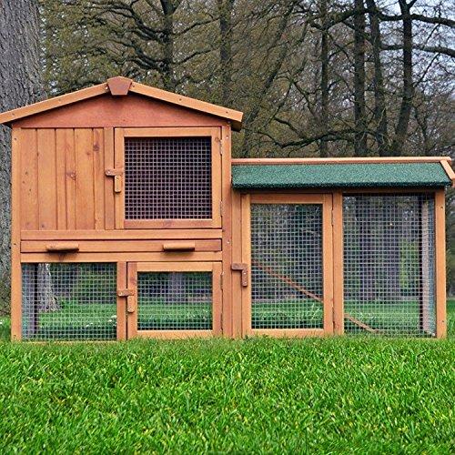"""ZooPrimus Kleintier-Stall Nr 01 Kaninchen-Käfig \""""HASENVILLA\"""" Meerschweinchen-Haus für Außenbereich (Breite 145cm, Tiefe 53cm, Höhe 86cm, geeignet für Kleintiere: Hasen, Kaninchen, Meerschweinchen usw.)"""