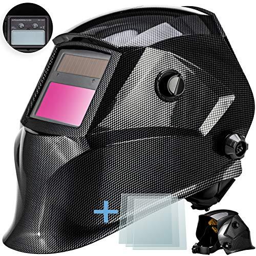 Masko® Automatik Schweißhelm + 3x Ersatzgläser | großes Sichtfeld | für alle gängigen Schweißtechniken - Schweißmaske Schweißschirm Solar Schweißschild Schutzhelm | gegen Funken, Strahlungen Carbon
