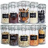 Creative Home 10 x Tarros de Cristal Herméticos con Tapa   10 x 500ml   Set Botes Envases Cierre de Clip   para Conservar Alimentos   12 Pegatinas Reutilizables + 1 Tiza Sin Polvo