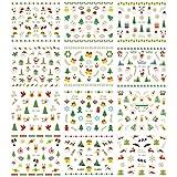 OULII Adesive per unghie Natale Decalcomanie del Unghie decorazioni Modello del Santa Renna Fiocchi di Neve
