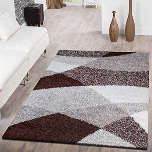 Tappeto shaggy a pelo lungo, moderno tappeto con motivo geometrico, diversicolori, Polipropilene,...