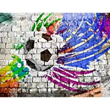 Tapisserie Photo Football graffiti 308 x 220 cm Laine papier peint Salon Chambre Bureau Couloir décoration Peinture murale décor mural moderne - 100% FABRIQUÉ EN ALLEMAGNE - 9021010b
