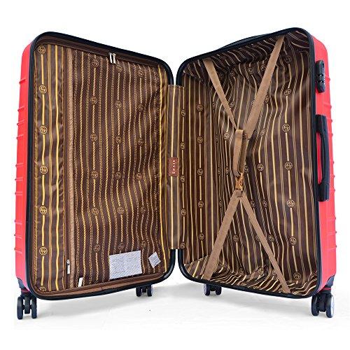 SHAIK SerieCLASSIC JFK Design Hartschalen Trolley, Koffer, Reisekoffer 4 Doppelrollen Zwillingsrollen, Zahlenschloss (Set, Rot) - 2