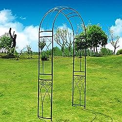 OUTOUR® Arco de jardín de metal estereoscópico con curva elegante para plantas trepadoras, Rosas, Enredaderas, jardín al aire libre, patio trasero, boda, color negro