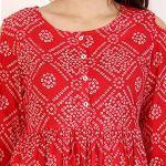 Amayra Women Cotton Anarkali Kurti(Red)