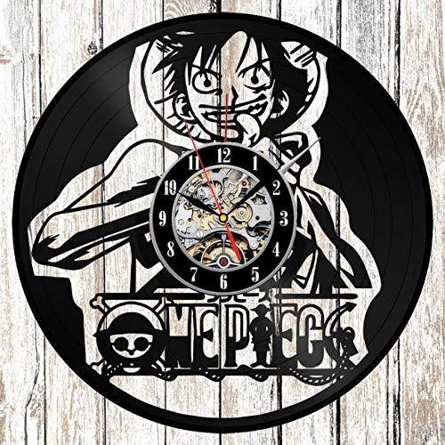 wczzh Orologio da Muro Vintage Orologio in Vinile Orologio da Parete One Piece Rufy Vinyl - Orologio da Parete per Bambini