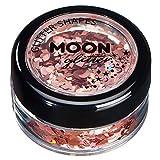 Glitter olografici della Moon Glitter – 100% Cosmetico per viso, corpo, unghie, capelli e labbra - 3gr - Oro Rosato