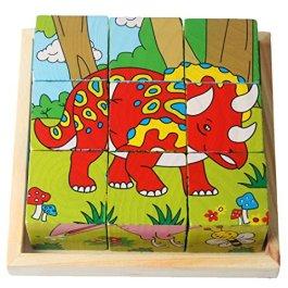 9 blocchi Pezzi Bambini che costruiscono 3D puzzle in legno PTTP-01 (Dinosauro)