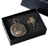 Yisuya, orologio da tasca Doctor Who stile retrò, vintage, color bronzo con catena, da uomo e ragazzo, catenina con ciondolo, in scatola regalo