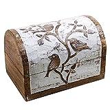 Icrafts Medium anticata in legno, portagioie gioielli scatola dei ricordi, organizer portaoggetti intagliato a mano, motivo: uccello