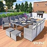 Swing & Harmonie Polyrattan Sitzgruppe Esstisch Lounge Sitzgarnitur Essgruppe Gartenmöbel Set (13-Teilig, Grau)