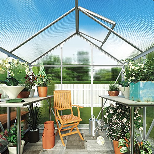 Polycarbonate Greenhouse Large Walk-in Garden Growhouse, Rust-proof Frame, Sliding Door & Supported Twin Wall Panels with Steel Base 6x4' (Standard Silver)