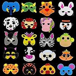 Creativee 20 x Niños Eva Foam Wild Animal de Granja Máscaras Fiesta Juguetes de llenado de Bolsillo, Las actuaciones de la Etapa Parte Celebrar máscaras- diseños Surtidos (Pack de 20)