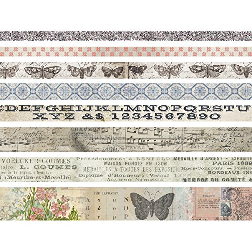Tim Holtz diseño cinta mariposa, papel, multicolor, 4.1x 4.1x 13,3cm