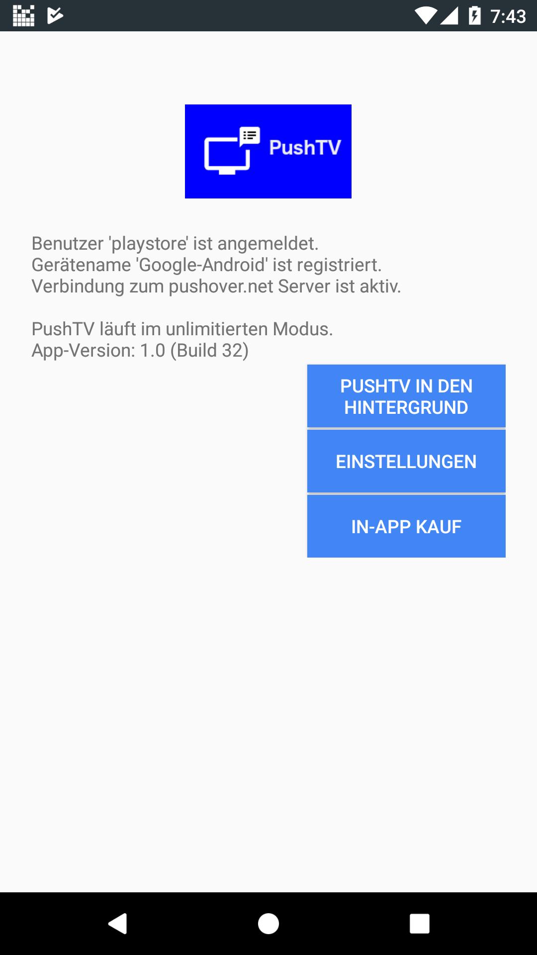 PushTV - Push-Meldungen auf dem Fire TV Screenshot