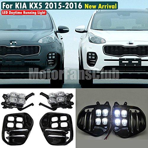Motorfansclub 2PCS LED luci diurne fendinebbia con lampada frontale lunetta