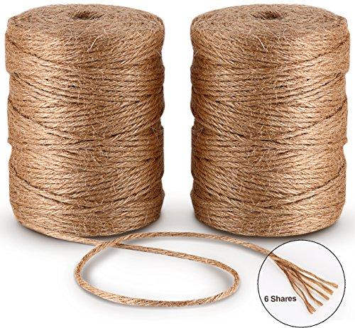 6ply Bramante de Yute 100M*2Pcs Natural Yute Twine Cuerda de Cáñamo Cordel mejor Arts Crafts - Cordel de regalo Twine Industrial de embalaje Materiales resistente cadena para jardinería aplicaciones