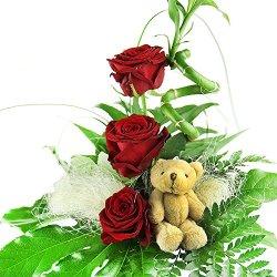 floristikvergleich.de Blumenstrauß Geburtstag – Glücksbambus und Rosen