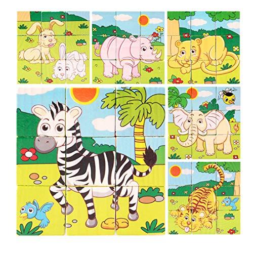 WDYJMALL 9 Pezzi Puzzle di Puzzle di Legno 3D cubo Giocattolo per Bambini Bambini Ragazzi Ragazze -...