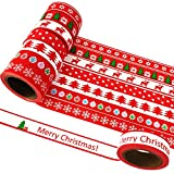 EDGEAM 8er/Set Washi Tape Weihnachten Christmas Rot Klebeband Dekorative Scrapbooking 15MM x 10M (Stil-SD1R)