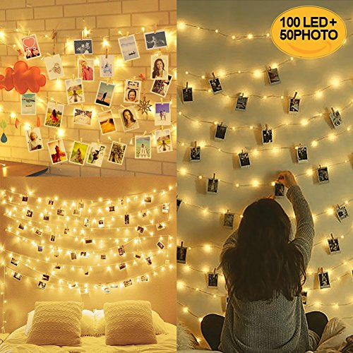 10M 100LED Luci per Foto Polaroid, Lucine Led Decorative per Camere, Porta Foto Mollette, Luci Led...