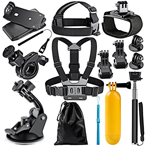 Neewer 12-in-1 Sport Accessori Kit per GoPro Hero 7 6 5 4 3+ 3 2 1, Hero Session 5, Nero