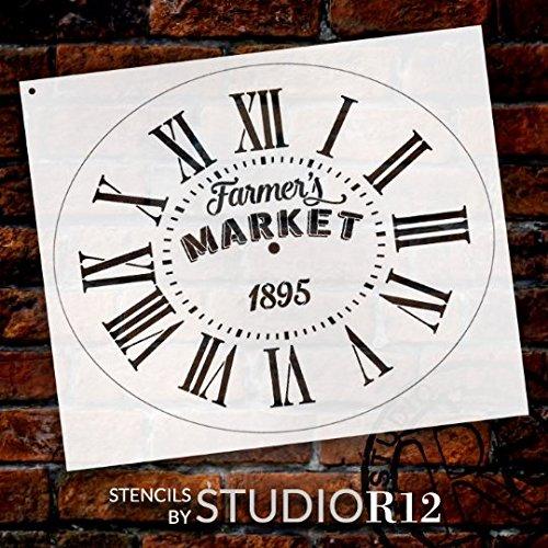 Orologio ovale stencil W/numeri romani-mercato contadino lettere-DIY painting vintage Rustic...