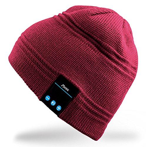 Rotibox Winter Bluetooth Beanie Mütze mit Stereo-Lautsprecher Kopfhörer, Mikrofon, Hände frei und Akku - kompatibel mit Handys, iPhone, iPad, Tablets, Android Smartphones - Red