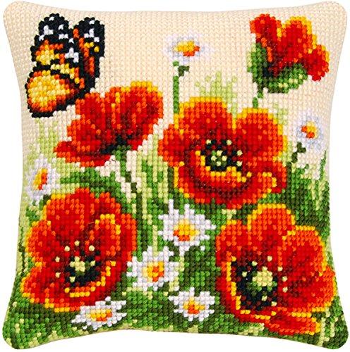 Anderson & Web - Patrón con instrucciones para cuadro de punto de cruz, 40 x 40 cm, diseño de amapolas y mariposa, multicolor