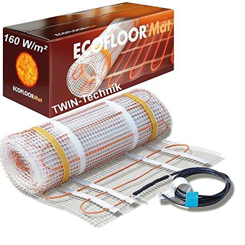 ECOFLOOR® Fußbodenheizung elektrisch 160 Watt/m² Größe wählbar 1- 12m² Fußboden-Heizmatte Twin (3 m² = 6 m Länge)