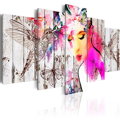 murando - Cuadro en Lienzo 200x100 cm - Impresion en Calidad fotografica - Cuadro en Lienzo Tejido-no Tejido - Pjaro Mariposa Mujer Cara Madera h-C-0036-b-m