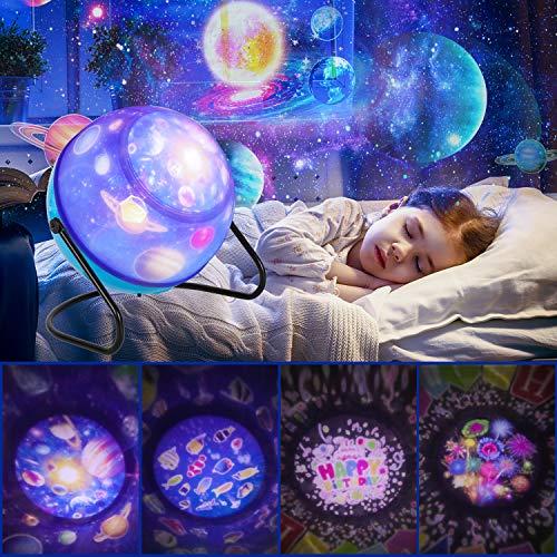 Lampada Stelle Bambini, 360° Rotazione Proiettore Luci Bambini con4+ 8 Modalità Romantica Luce...