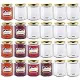 VonShef 8oz Hexagonal Glass Preserve Jam Jars with Screw Lids & Decorative Self-adhesive Labels - Set of 24
