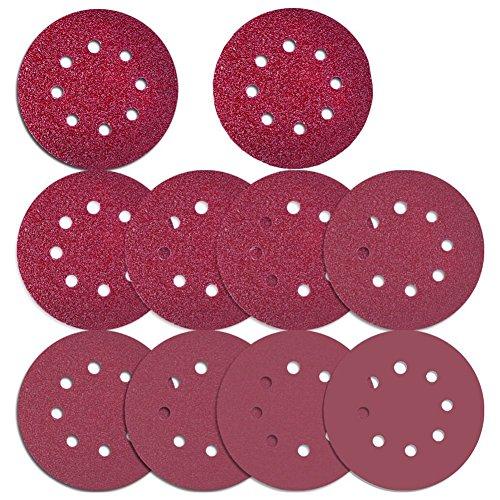 BMYUK 76 Piezas Discos de lijado de 8 agujeros, Gancho y Lazo de 5 pulgadas incluyen 40/60/80/100/120/180/240/320/400/800 papel de lija de grava para Lijadora Orbital Aleatoria