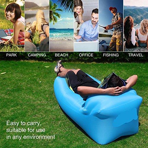 Hochwertige Premium Wasserdichtes aufblasbares Sofa, Luft sofa,Luft couch, mit integriertem Kissen, tragbarer aufblasbarer Sitzsack, Aufblasbare Couch, aufblasbares Outdoor-Sofa, lazy lounger für Camping, Park, Strand, Hinterhof , Wasser Aktivitaeten(blau) - 3