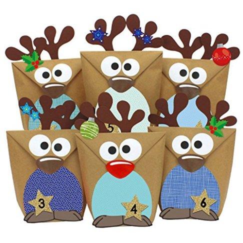 Papierdrachen-DIY-Adventskalender-Set-Rentiere-zum-Befllen-mit-roten-Buchen-zum-selber-Basteln-mit-24-Tten-zum-individuellen-Gestalten-und-zum-selber-Fllen-Weihnachten-2018