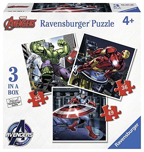 Ravensburger 07004 - Marvel Avengers 3 Puzzle Progressivi, 25/36/49 Pezzi