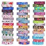 Juego de 48 rollos de cinta adhesiva washi decorativa de 8 mm de ancho, diseño colorido de flores, para manualidades, álbumes de recortes y regalos