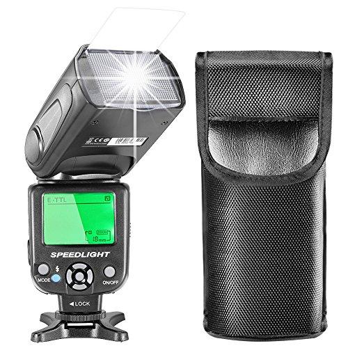 Neewer E-TTL Flash Speedlite con LCD Display, Diffusore Duro e Borsa Protettiva per Fotocamere DSLR...