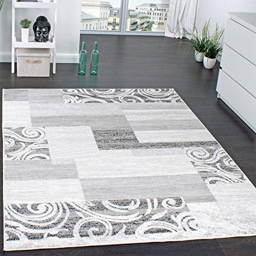 Tappeto di Design per Salotto Arredamento A Pelo Corto Motivo in Grigio Crema, Dimensione:60x100 cm