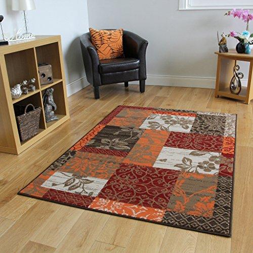 The Rug House Tappeto Patchwork Marrone, Rosso, Arancione, Beige e Crema - 5 Formati