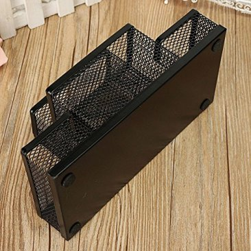 Almand New Arrival Multifuction Black Cube Metal Book Stand Mesh Style Desk Tidy Pencil Metal Pen Holder Office Home Supplies Gift 8