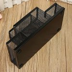 Almand New Arrival Multifuction Black Cube Metal Book Stand Mesh Style Desk Tidy Pencil Metal Pen Holder Office Home Supplies Gift 22