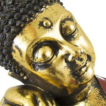 Figura buda de resina en color rojo y dorado | 60 cm de alto | Portes gratis 8