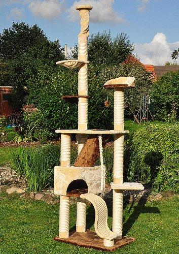 katzeninfo24.de nanook Katzen-Kratzbaum SIGURD, groß XXL deckenhoch (275 cm), große Höhle, 2 Liegemulden, schwer und standfest, Kratzstämme 11 cm Ø – beige braun